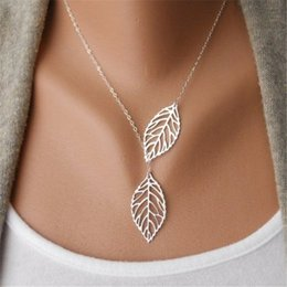 Wholesale Hollow Choker Necklace - Gold And Sliver Vintage Punk Gold Plated Hollow Two Leaf Pendants Necklace Simple Choker Necklace Collar Statement Necklace Women Jewelry