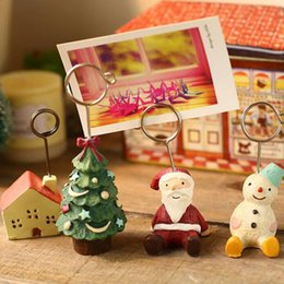 Wholesale christmas place card holders - Creative Christmas Santa Claus Animal Place Card Holder Party Favors Party Table Decoration Free Shipping ZA4146