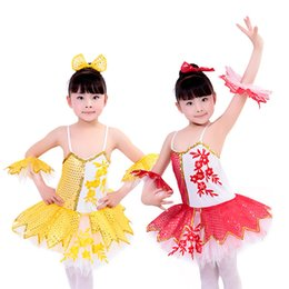 Wholesale Dance Performance Leotard Costume - Newly Girls Sequined Leotard Dancewear Ballet Tutu Gymnastics Dance Dress Kids Performance Skate Costume Child Salsa Dress UD0019