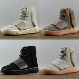 Wholesale Cheap Leather Ankle Boots Women - 2017 Cheap 750 Boost Glow In The Dark Brown Kanye West Leather Ankle Boots Men's Sport Running Shoes Discount Sneakers Basketball Shoes