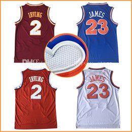 Wholesale Hottest Vintage - cheap 23# James Jersey Michel Vintage Kyrie Irving 100% Stitched logos #23 LeBron Basketball Jerseys Throwback hot sale ships free