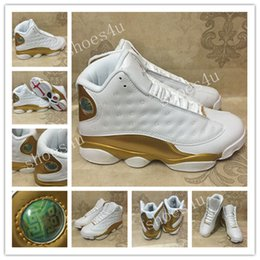 Wholesale Embroidered Training - 2017 Retro 13 Basketball Shoes White Gold 1998 13 14 DMP Pack Mens Sport Shoes Sports Training Sneakers Athletics Sneakers With Box US 8-13