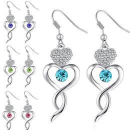Wholesale Royal Blue Flower Earrings - 2017 New Silver color Earrings Royal Blue Austria Cubic Zircon Crystal Heart Shape Jewelry Fashion Earrings for Women