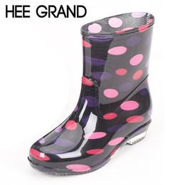 Wholesale Fashion Rain Boots Women - Wholesale-HEE GRAND Spot Rain Boots Platform Shoes Woman Slip On Casual Women Ankle Boots Waterproof Flats Fashion Women Shoes XWX4532