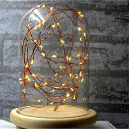 Wholesale Clear Glass Table Lamps - Modern Lamp LED Line Light Desk Lamp Glass Cover Wood Base Personality Decoration Bedside Light for Bedroom starry sky Table Light