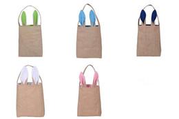 Сумочки из ткани для дизайна онлайн-Новый дизайн хлопок льняной холст сумка пасхальное яйцо Кролик уха сумки Tote детские джутовая ткань подарок сумки бесплатная доставка