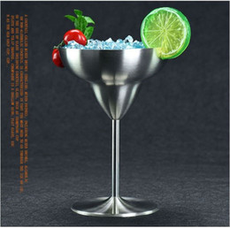 Wholesale Wave Wall Decoration - 220ML Stainless Steel Walled Margarita Glass Savage Wine Goblet Brushed Stainless Steel Red Wine Cup Champagne Cocktail Cup Goblet wn219