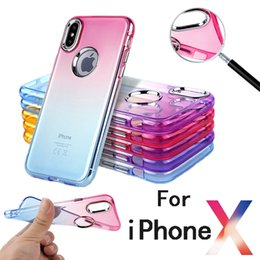 Wholesale Clear Cell Iphone Cases - For iPhone X Electroplate Cell Phone Cases Gradient Colorful Clear Soft TPU Covers for iPhone 6 6s 7 8 Plus