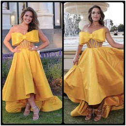 Wholesale High Low Style Prom Dresses - 2018 Yellow Prom Dresses With Bowknot Elegant Sweetheart High Low Style Dubai Evening Wear Party Dress Custom Cheap Vestidos De Gala