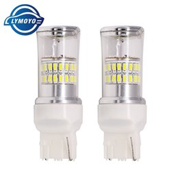Wholesale Mirror License Plates - Bright White t20 W21W 48-SMD 7440 7443 LED Bulbs Reflector Mirror Design LED tail Bulbs For Turn Signal Brake Backup DRL Lights