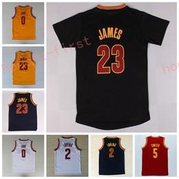Wholesale Shirts Basketball - Best Quality 23 LeBron James Jersey 0 Kevin Love 2 Kyrie Irving Shirt Uniforms 5 Jr Smith with sleeve Black Navy Blue White Red Yellow