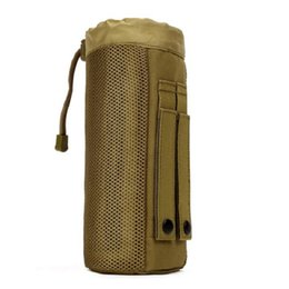 Wholesale Bottle Holder Bag - Wholesale 2017 Outdoors Molle System Tactical Water Bottle Pocket Holder Drawstring Pouch Bag Durable Nylon Equipment Free Shipping