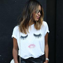 Wholesale Cute Solid Long Sleeve Shirts - women's t-shirt kawaii VEQKING eye print White t-shirts Loose Crew Neck Short Sleeve Tops Cute Eyelashes Lips Femininas NV20-R3