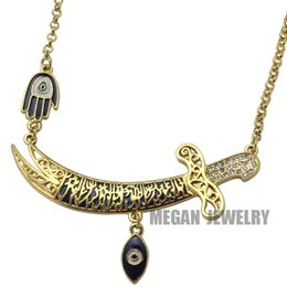 Wholesale Hamsa Necklace Evil Eye - Wholesale-gold plated muslim turkish evil eye Imam Ali Sword Hamsa Hand Of Fatima necklace, islam jewelry fashion 55cm chain