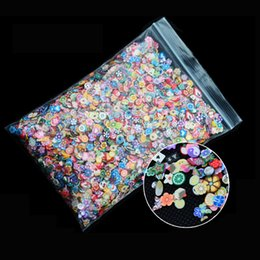 Wholesale Nail Fimo Clay - Wholesale- Hot 1pack Nail Art 3d Fruit Feather Flowers Mix Designs Tiny Fimo Slices Polymer Clay DIY Beauty Nail Stickers Decorations