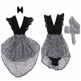 Wholesale Little Girls Hair Bows - Summer girls leopard print dresses baby clothes kids hair bow lace sleeve dress little sisters matching black romper infant clothes in stock