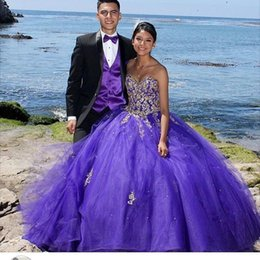 Wholesale Cheap Light Up Collars - Purple Cheap Quinceanera Dresses Applique Sequined Cascading Ruffles Fluffy Sweet 16 Quinceanera Gowns Floor Length Party Dress 2016