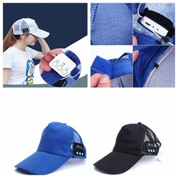 Wholesale Net Beanies - New bluetooth earphone music player bluetooth headset sport wireless Stereo music headphone Net Breathable hat cap 100 PCS YYA577