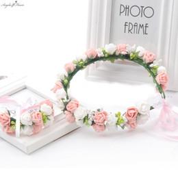 Wholesale Korean Wedding Flower Wreath - South Korean style Bride women flower crown PE mini rose decorative wreath wedding travel resortinf hair accessory Hot Selling