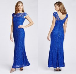 Wholesale aqua plus size dress - Trumpet Mermaid Cap Sleeve Aqua Blue Lace Evening Dresses Maxi Gowns Sheer Top Ankle Length Mother Of The Bride Dresses ADE013
