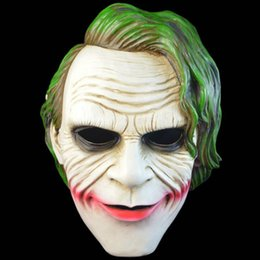 Wholesale Joker Resin Mask - Joker Mask Batman Clown Costume Cosplay Movie Adult Party Masquerade Rubber Latex Masks for Halloween Free Shipping