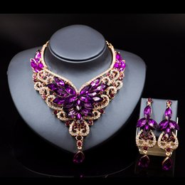 Wholesale Vintage Indian Earrings - Lan Palace Crystal Statement Necklace Earings For Women Nigerian Wedding African Jewelry Kolye Vintage Jewelry Flower