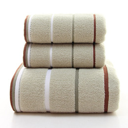 Wholesale Bath Two - Good quality towel set cotton material one bath towel two face towels two size four colors soft simple elegant home travel adult use