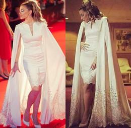 Wholesale Sexy Short Mini Nude Dress - African Sheath Evening Dresses With Cape Jacket V Neck Satin Lace Appliques Plus Size Prom Dress Zipper Back Saudi Arabic Party Dress