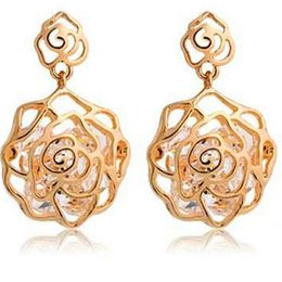 Wholesale Dhl Jewellery - Gold Plated Rose Flower Earrings DHL Fashion Earing Jewellery Zircon Studs Hollow Earring Fashion Charm for Women Lady Christmas Gift