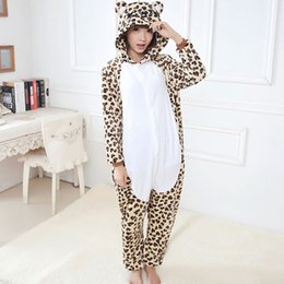 Wholesale Men Leopard Sleepwear - Wholesale- 2017 Unisex Adult Leopard Bear Pajamas Sets For Women Men Flannel Hooded Cartoon Animal Sleepwear Warm Homewear home clothing