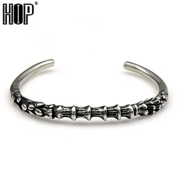 Wholesale Bamboo Cuff - Wholesale- HIP Punk Vintage Bamboo Sape Adjustable Open Cuff Bracelets 316L Stainless Titanium Steel Bangles for Men Jewelry
