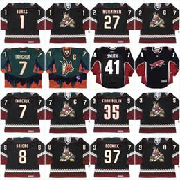 Wholesale Coyote Brown Xl - Phoenix Coyotes Jersey Mens 1 SEAN BURKE 2001 7 KEITH TKACHUK 8 DANIEL BRIERE 10 ALEX GOLIGOSKI Vintage Throwback Hockey Jerseys