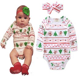 Wholesale Wholesale Organic Baby Rompers - Cute christmas Baby Jumpsuits Romoers Princess Girl Xmas Tree Printed One-piece Newborn Climb Clothes Girls Rompers Toddler Bodysuit A7317