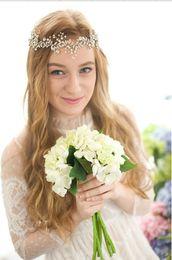Wholesale Tiara Diamond Wedding Dress - Romantic Wedding Jewelry Bride Headpieces Diamond Dress Accessories Hairband Pearl Wedding Tiara For Bridal Party wholesale