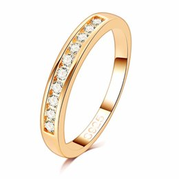 Wholesale Stainless Steel Eternity - 50%OFF! Gold Color TOP Class 10 pcs Rhinestones Studded Eternity Wedding Ring