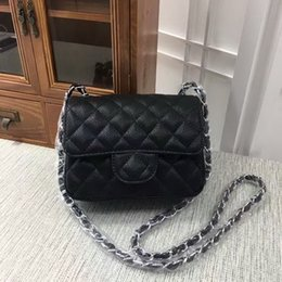 Wholesale Womens Pink Bag - Hot sales mini 17cm women High quality womens brand designer handbag Shoulder Bags totes Caviar Gold chain and silver chain (16 color) #1115
