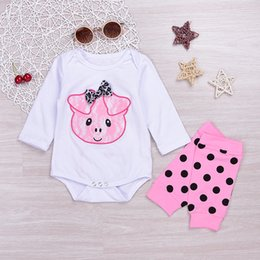 Wholesale Cute Warm Baby Clothes - Mikrdoo Cute Baby Girl Clothes Newborn Infant Pink Pig Bodysuit White Romper Dot Legging Warmer 2PCS Outfit Kids Bowknot Clothing Top Set