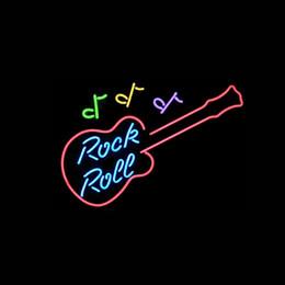 Enseignes au néon de rock roulant en Ligne-Nouveau ROCK N ROLL enseigne au néon tube de verre tube bar salle de club à la main dans le mur