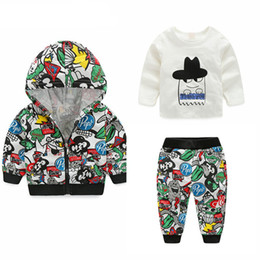 Wholesale 12 Month Girl Coat - Newest Spring Baby Boys Girls Clothing sets Cartoon Casual Kids Hooded Coat+ t-shirt+Pants 3Pcs Newborn Clothes Suits