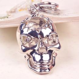 Wholesale Skull Skeleton Handbags - Bing Bling Crystal Rhinestone Horrible Skull Metal Keychain Keyring Car Keychains Purse Charms Handbag Pendant Best Gift