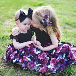 Wholesale Wholesale Flower Jeans - 2017 summer Girl's Dresses sisters dress big flower flying sleeves Kids Clothing baby jeans girl dress 1404