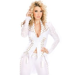 Wholesale Sexy Clubwear Apparel - Wholesale- HU&GH Gothic DS Sexy Wetlook Clubwear Catsuit For New White Rivet Fashion Two Pieces Suit Tops And pants Exotic Apparel W850769