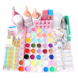 Wholesale Uv Gel Topcoat Acrylic Nail - Nail Tools Sets Kits New Acrylic Powder Liquid UV Gel TopCoat Cleanser Plus dotting pen Nail Art fimo Glitter File Brush Tool