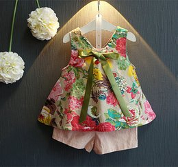 Wholesale Thin Lolita - 2017 new summer Princess thin Western Style Floral sleeveless blouse +pants two piece suit girls kids bow two piece suit