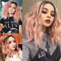 Wholesale Watering Root - Peach Wave Synthetic Lace Front Wig with Dark Roots Heat Resistant Fashion New Arrival Ombre Hair Water Wave Light Somek Pink Short Hair