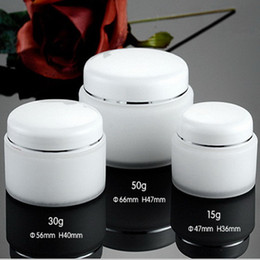Wholesale Double Layer Cream Bottle - 20pcs lot 15g 30g 50g High Quality Double Layers PP Cream Jar Box With White Lid White Color Plastic PP Bottle With Threaded Cap