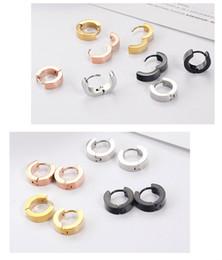 Wholesale Titanium Steel Earring Men - 2017 fashion ear buckle stainless steel anti-allergic earrings men and women general titanium steel smooth earrings