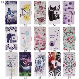 Wholesale Transparent Flip Covers For S4 - 20PCS lot Luxury Case for SamsungS3 Flip Wallet PU Cover For SamsungS3 S4 S5 S6 S6Egde S7 S7Egde phone case