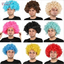 Wholesale Wigs For Carnival - Fans Exploded Head cosplay cheap Afro wig Harajuku Anime Party Wig Oversized Multicolour synthetic wigs For Ball Fans Festival Carnival wigs
