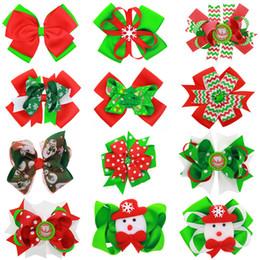 Wholesale Stripe Ribbon Hair Bows - Girls cute Christmas big bow hair pins matte ribbon Xmas pattern printing headwear wave stripe snowflake snowman hair clips